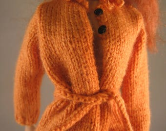Hand Knit Doll Clothes Orange Sweater Jacket fits 16 inch fashion doll such as Tonner Tyler