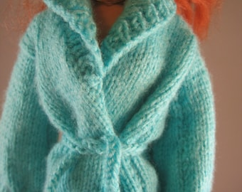 Hand Knit Doll Clothes Long Sweater Jacket fits 16 inch fashion doll such as Tonner Tyler