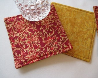 Red Gold Christmas Coasters set 4 or 6 Red Poinsettia Mug Rugs Gold and Red Coasters Gold Christmas Coasters Elegant Gold Christmas Coasters