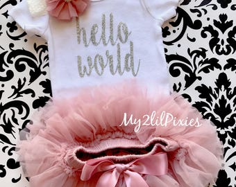 Baby Girl Take home outfit, Onesie, Tutu Bloomers and Headband set- Hello World, Newborn baby Girl Onesie, Newborn Set baby, baby girl