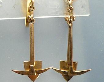 Vintage Gold Miner 10K Earrings Pick & Shovel Prospector Gold Digger