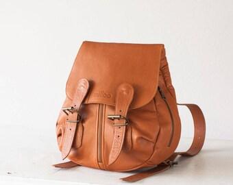 CLEARANCE Leather backpack in brown bag, soft leather bag, everyday backpack, rucksack, daypack,knapsack -Mini Artemis backpack