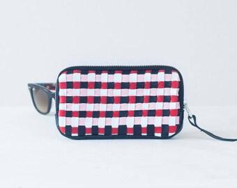 Leather zipper purse with handwoven strips, coin purse zipper phone case money bag iphone 7 case zip purse - The Antheia Zipper pouch