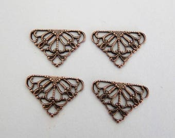 6 Antiqued Copper - Brass 15x11mm Filigree Triangle Connectors, Made in USA