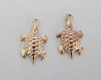2 Gold Filed Turtle Charms, Made in USA