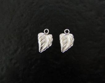 Two Sterling Silver Leaf Charms 8.5x6mm