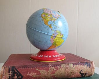 On SALE Vintage Tin Metal Globe Bank
