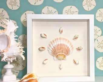 Beach Decor - Framed Natural Seahells or Sea Fan - coastal nautical embellished seashells starfish sealife