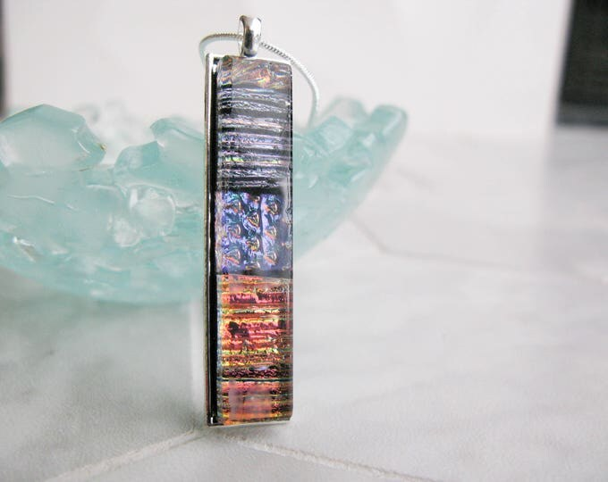 Dichroic glass bar pendant, Handmade Glass Pendant, unique pendant, tall modern Glass Necklace, Fused Glass, rectangle