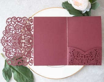 Laser Cut Pocket - Burgundy Wedding Invitation - Blush Lasercut Pocket - DIY Wedding Invitation