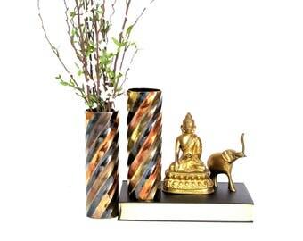 Vintage Brass Mixed Metal Ribbon Effect Tubular Vase
