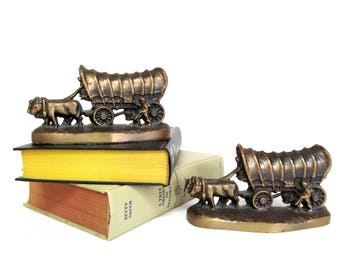 Vintage Brassy Covered Wagon Bookends