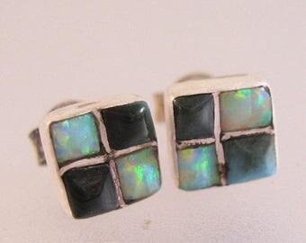 XMAS in JULY SALE Opal & Onyx Sterling Silver Square Earrings Stud Pierced Vintage Jewelry Jewellery