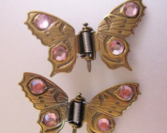 SALE & FREE SHIPPING Vintage Jeweled Butterfly Hair Clips Brass Bronze Pink Hair Accessories