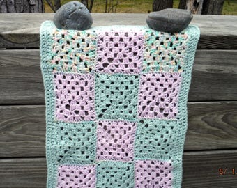 Doll Afghan, Granny Square Blanket, Hand crocheted, Pink, Green, Yellow, White, Baby Doll, Car Seat Blanket, Carriage Robe, Blinkie, Throw