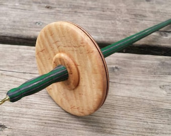 curly maple  top whorl spindle id # 7a18m01