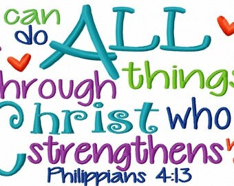 I can do all things through Christ Bible verse 7x5 10x6 Machine Embroidery Design INSTANT DOWNLOAD shirt bib nursery shower christian pray