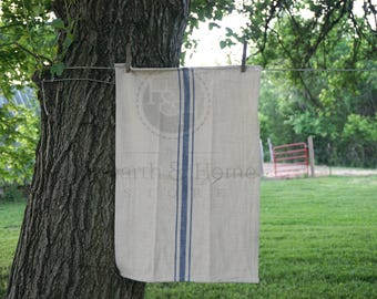 Rustic Blue Grainsack Stripe  Cotton Tea Towel, Farmhouse towel, French Inspired Flour Sack Towel, Vintage  Look Towel