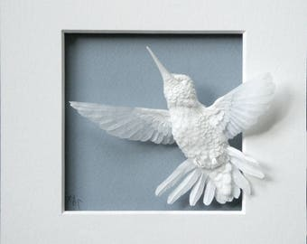 Paper Hummingbird Sculpture Art Flying Up Ready to Ship