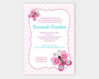 Pink Butterfly Teal and Pink Chevron Girl Baby Shower Invitation Printable Shower Invite bs-137