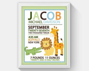 Jungle Safari Birth Announcement Print with Alligator, Lion and Giraffe, Personalized Baby Gift (Design 15a)