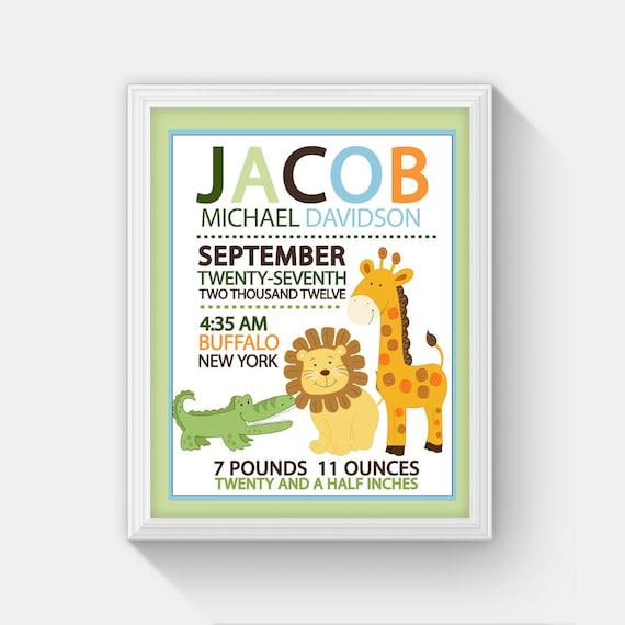Jungle safari birth announcement print with alligator lion and il570xn negle Images
