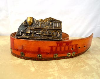 Vintage 1977 1970s Rare Captain Hawks Sky Patrol Train Engine Tooled Leather Belt and Buckle