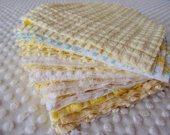 "Vintage Chenille Fabric Quilt Squares - 30 - EIGHT "" squares in yellows, pairs - 500-339"