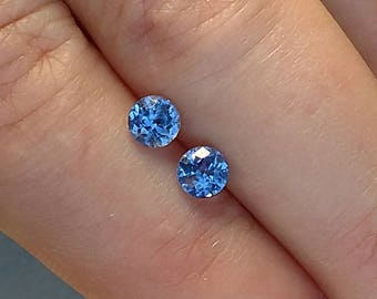 Sapphire Pair, Sapphire for Earrings, 4.4 mm Ceylon Sapphire Matched Pair, Round Ceylon Sapphires, Unheated Ceylon Sapphires