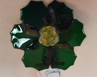 Green flower shaped Fused glass night light