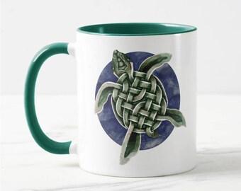 Celtic Sea Turtle Ceramic Art Mug