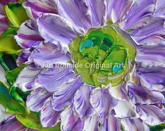 Daisy painting,  Painting Original, White and purple floral Canvas, palette knife, daisy, wedding