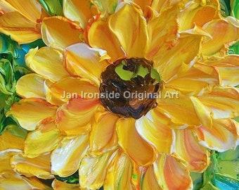 Original Oil Painting , Fine Art, Impasto Painting, Bright floral, sunflower