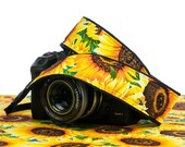 Sunflower Camera Strap, dSLR, Yellow, Flower, SLR, Pocket, Camera Neck Strap, Universal, Canon, Nikon, Sony, Pentax, Olympus, 307