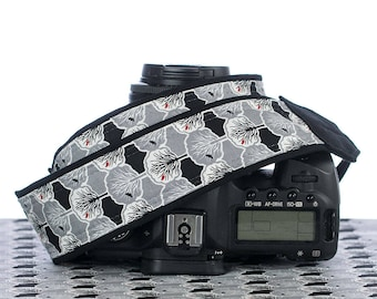Tree of Life dSLR Camera Strap, Blackbird, SLR, Red Bird, Pocket,Gray, Black, White, Canon camera strap,Nikon Camera Strap, Neck Strap,145