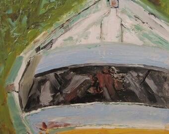 Boat Art, ORIGINAL Boat Painting, Coastal Art, Ocean Art, Seascape Art, 'Beached' by AndolsekArt