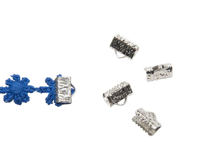 16pcs.  10mm  (3/8 inch) Platinum Silver Ribbon Clamp End Crimps - Artisan Series