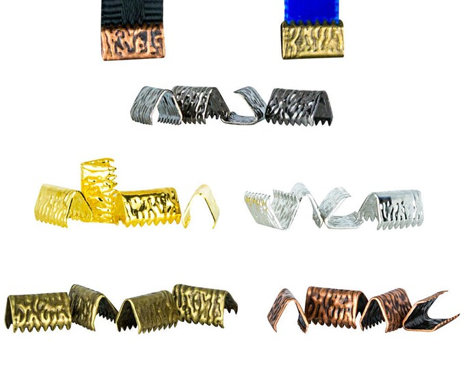 10mm  (3/8 inch)  ** 20 pieces Mixed Finish Pack ** NO LOOP **  Ribbon Clamp End Crimps   - Artisan Series
