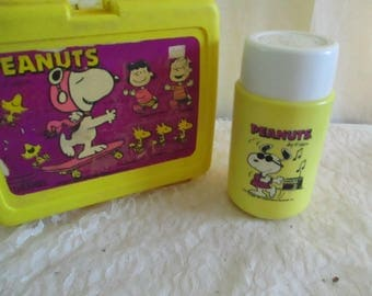 Peanuts Lunch Box with Thermos Snoopy Red Baron Lucy