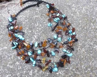 Vintage Amber & Turquoise Necklace, Multi Strand Amber Necklace, Baltic Amber, Genuine Turquoise