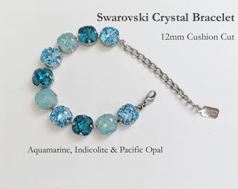 Aquamarine, Indicolite And Pacific Opal Swarovski Crystal Bracelet, 12mm Cushion Cut Crystals, Adjustable Length