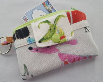 Zipper Mini Wallet Pouch Key Chain Holder Card holder - Dogs Puppies Bow Wow