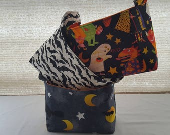 Halloween Fabric Organizer Basket Storage Bin Container - Witch - Bats - Ghost