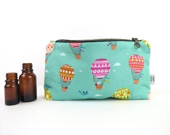 Essential Oil Case - Hot Air Balloon - cosmetic bag zipper pouch essential oil bag