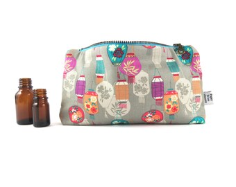 Essential Oil Bag - Paper Lantern - cosmetic bag zipper pouch essential oil bag oil case