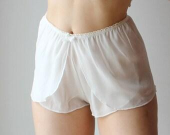 silk boxer shorts with sarong cut in sheer chiffon - BROOK silk chiffon bridal lingerie range - made to order
