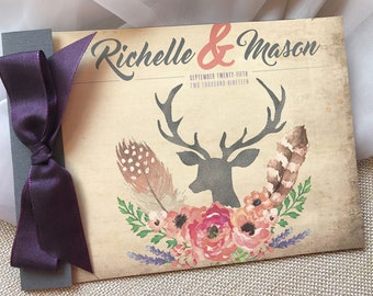 Deer Wedding Invitation, Watercolor Floral Wedding Invitation, Feather Wedding Invite, Rustic wedding invitation, Purple and Gray - SAMPLE