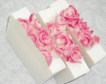 A Touch of Pink Soap / Flower Floral Feminine Soap / Cold Process Handmade Soap