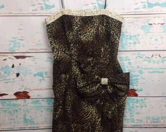 Vtg 90s Cache Julie Durocher for after five Leopard Rhinestone Jeweled Strappy Prom Dress 4 XS Extra Small NEW with tags. NWT