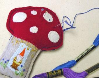 Gnome Toadstool Mushroom Pincushion or Ornament Decor - Heather Ross Gnome - Hand Stitched - Felt Art